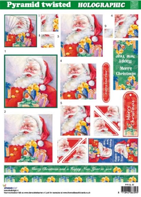 holographic santa claus foil play a4 twisted pyramid holographic decoupage studiolight santa claus