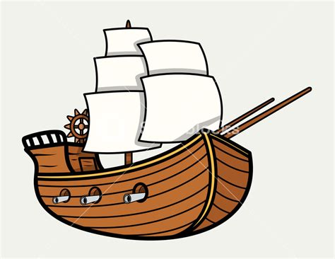 old boat clipart old vintage sea ship vector cartoon illustration royalty