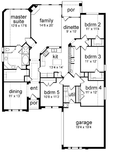 5 bedroom floor plans floor plan 5 bedrooms single story five bedroom new american home in 2019 house