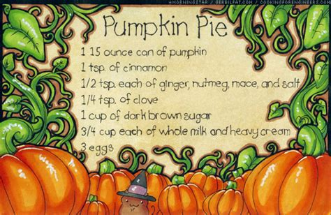 printable pumpkin recipes pumpkin pie recipe card by morningstar on deviantart