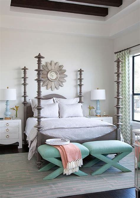 mint green and grey bedroom gray 4 poster bed with mint green x stools transitional