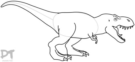 Drawing T Rex Step By Step by How To Draw A T Rex Dinosaur Drawintime