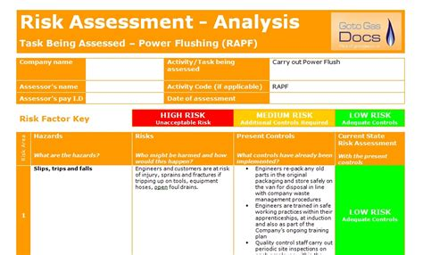 risk self assessment template risk assessment template free fall risk assessment form