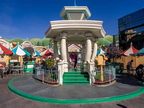 sections of disneyland gazebo in toontown disneyland editorial photography