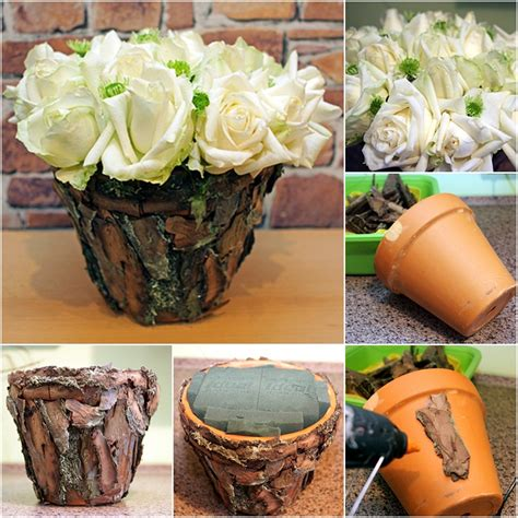how to decorate pot at home diy flower arrangement ideas white roses tree bark clay