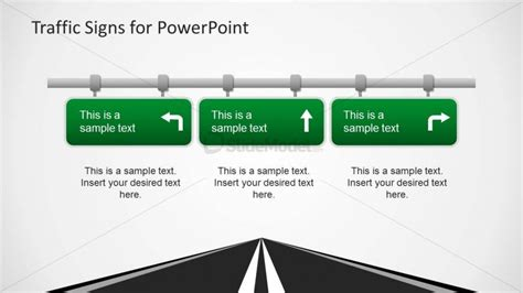 traffic sign template three road signs powerpoint template slidemodel