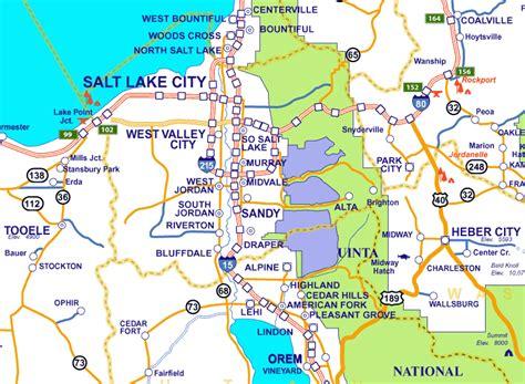map salt lake city surrounding area salt lake city map of utah