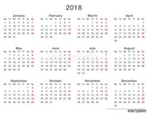 Calendar 2018 Uk To Buy Quot 2018 Calendar Simple Mondays Format Quot Stock