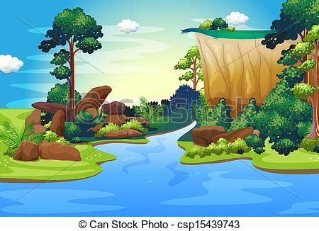 Small English Cottage Plans eps vector of a forest with a deep river illustration of