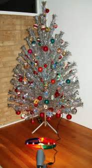 silver tree with color wheel aluminum tree