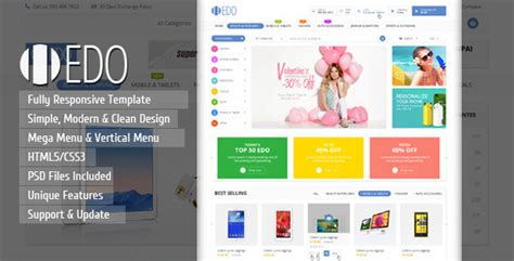 Edo Ecommerce Responsive Html Template By Kutethemes Themeforest Free Ecommerce Html Template