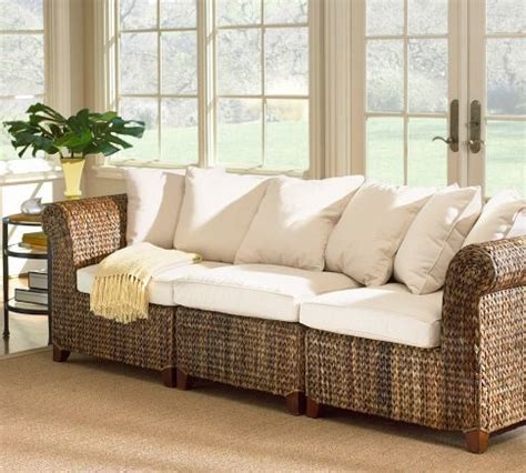 Seagrass 3 Piece Sofa Pottery Barn Tropical Patio Seagrass Living Room Furniture