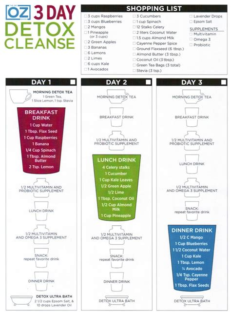 Dr Oz 3 Day Detox Cleanse Diet Plan 3 day detox cleanse what s for your is