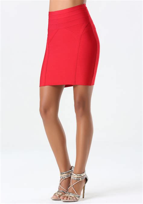 bebe high waist bodycon skirt in lyst