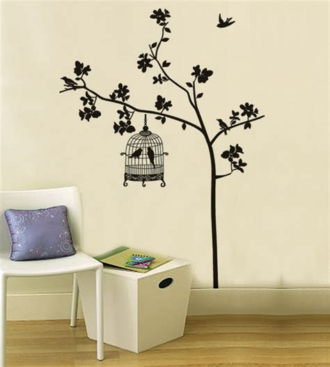 wall removable stickers free shipping removable wall stickers tree bird cage home decoration wall decals in wall
