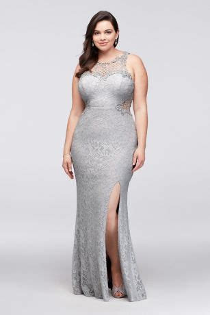 glitter lace plus size gown with geometric neck | david's