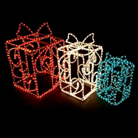 3d gift box christmas rope lights 3 piece buy online