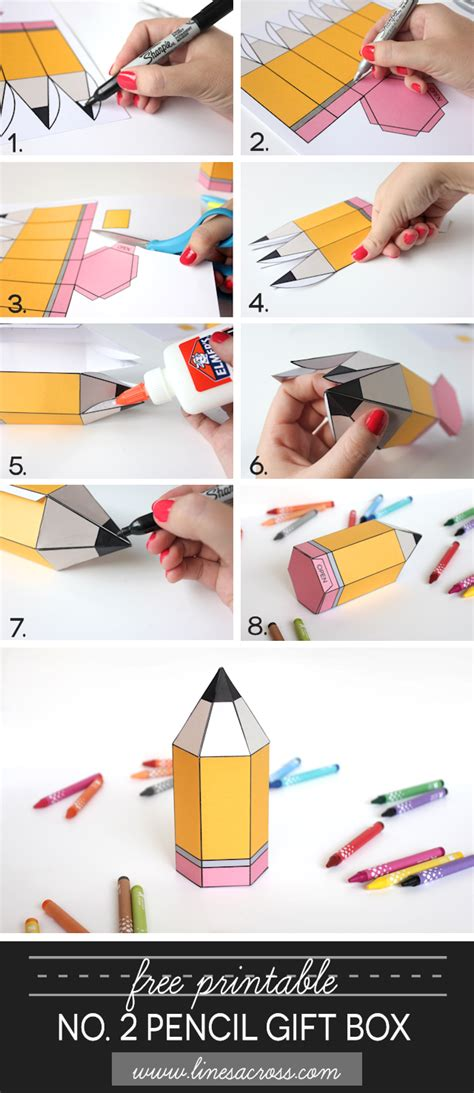 How To Make A Box With Chart Paper - free printable no 2 pencil gift boxes lines across