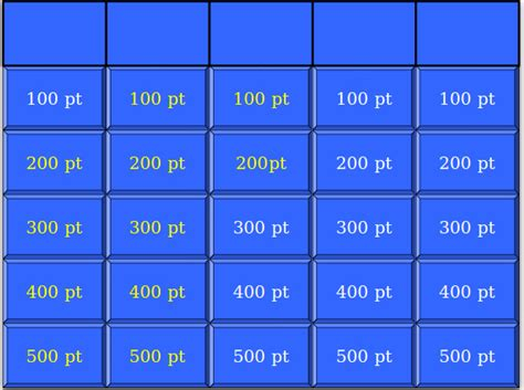 7 Blank Jeopardy Templates Free Sle Exle Format Download Free Premium Templates Jeopardy Printable Template