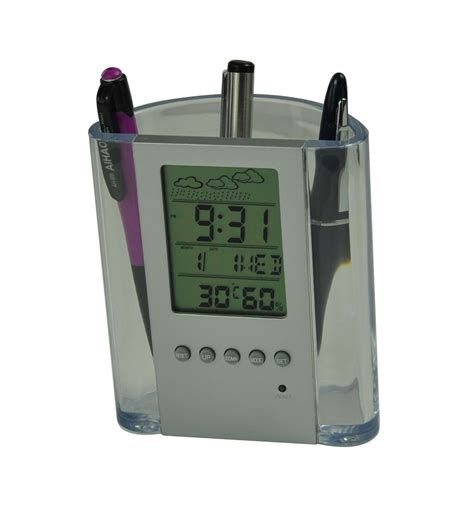 Leather Lcd Penholder With Clock by Lcd Clock With Penholder Clk1 5005tw Dison Industrial