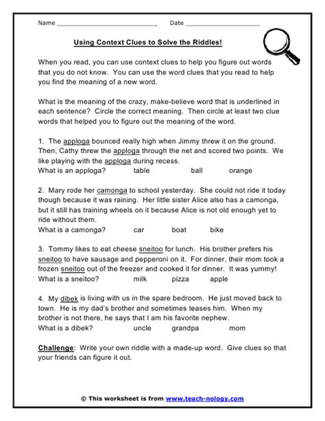 Ideas About Context Clues Printable Worksheets Easy - free printable worksheets for teaching context clues