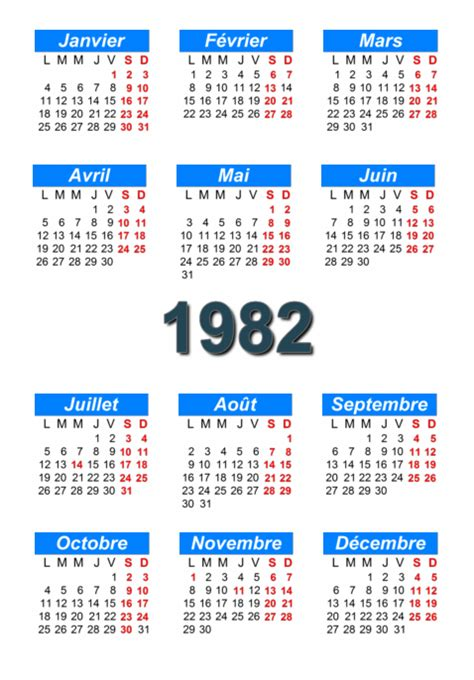 Calendrier De 1982 Calendrier 1982 224 Imprimer Et 224 T 233 L 233 Charger En Pdf Abc