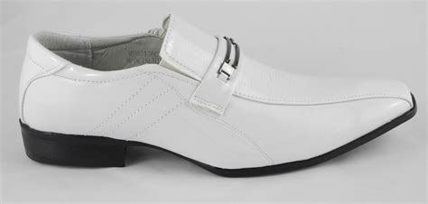 mens white shoes mens white patent leather look slip on wedding shoes