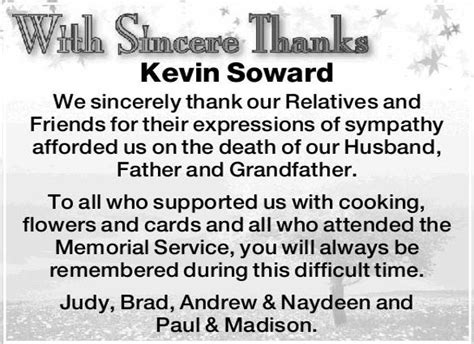thank you letter after funeral for newspaper 10 bereavement thank you notes free sle exle