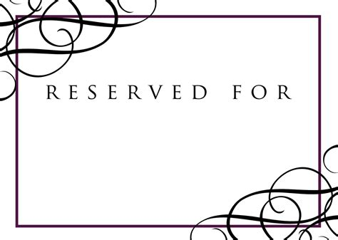 reserved table cards template signatures by wedding stationery for caitlin