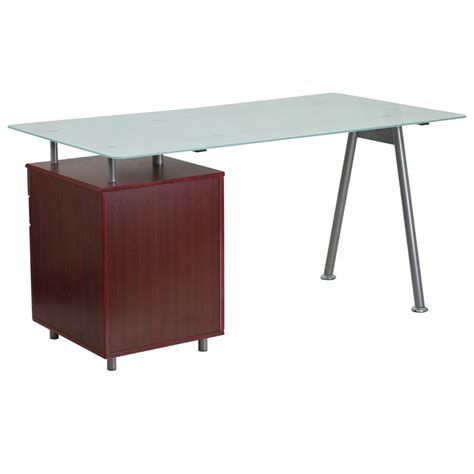 glass computer desk with mahogany three drawer pedestal