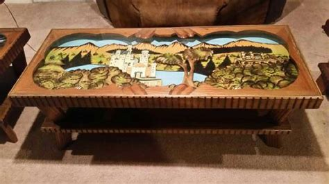 Tops Fine Art german carved black forest in tables coffee table in