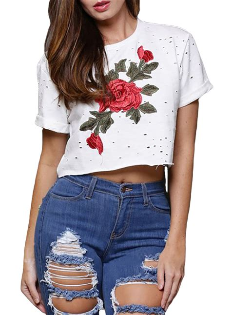 White Flower Embroidered Crop Top Size S M L 1 Us 4 83 White Embroidered Flower Broken Crop Top
