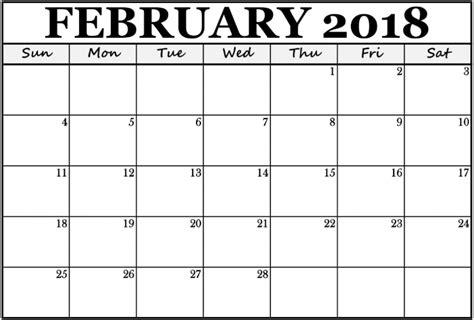 Calendar February 2018 Template