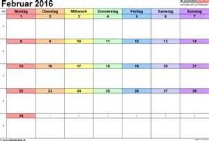 Kalender 2016 Februar Kalender Februar 2016 Als Excel Vorlagen