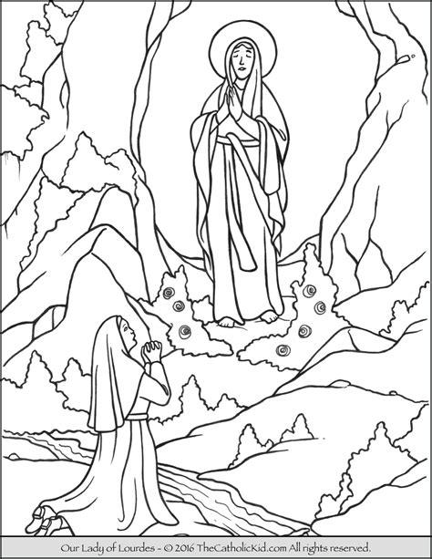 our lady of lourdes coloring page the catholic kid