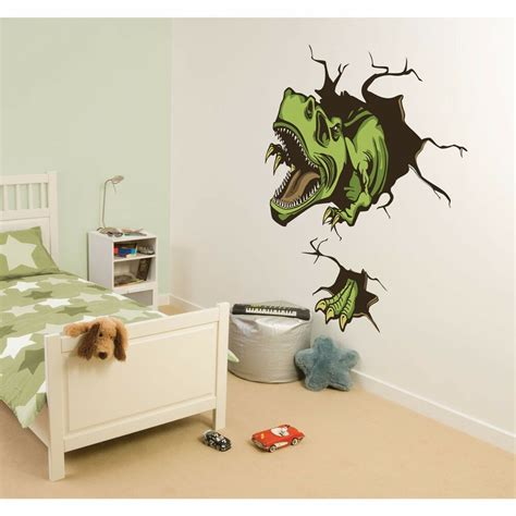 dinosaur wall decals for rooms crashing dino wall decals t rex dinosaur room decor stickers crasher decoration ebay