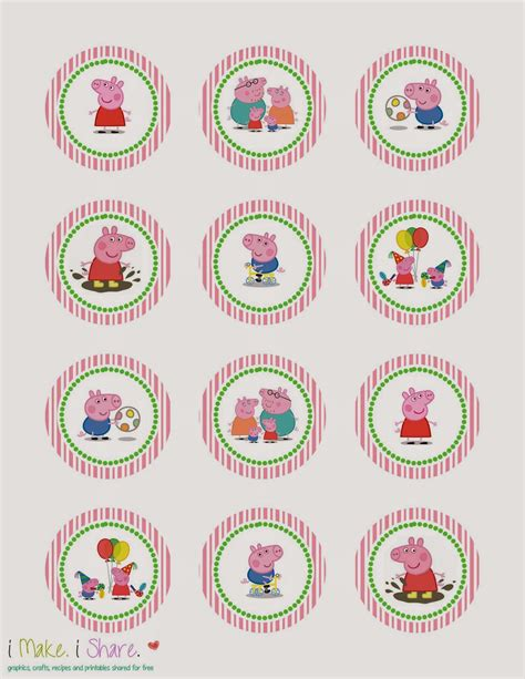 I Make I Share Peppa Pig Cupcake Template Peppa Pig Template