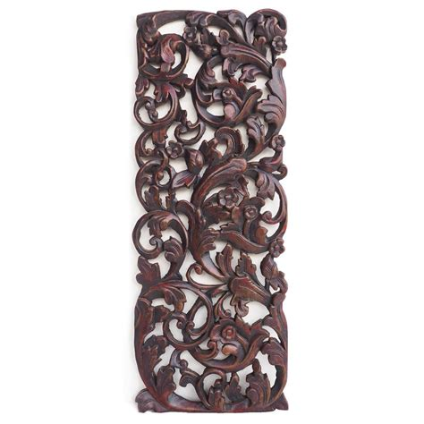 buy tropical floral curving wooden carving wall hanging