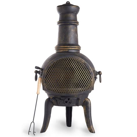 Vonhaus Cast Iron Chiminea Black Outdoor Garden Patio Heater Cast Iron Patio Heater