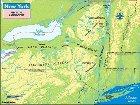 physical map of new york new york physical geography map by maps from maps