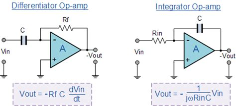 circuit diagram of integrator and differentiator using op operational lifiers