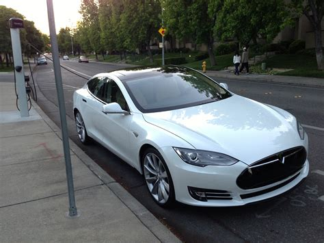 Tesla White File Tesla Model S Being Charged At A Chargepoint In