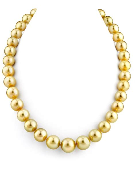 14k gold 11 13mm golden south sea cultured pearl necklace
