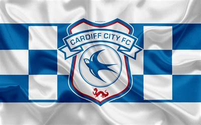 download wallpapers cardiff city fc, silk flag, emblem