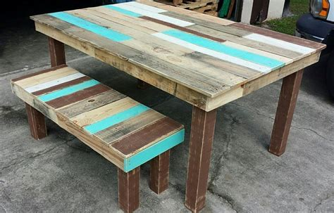 Dining Room Table Made From Pallets Pallet Dining Table And Bench Set Pallet Furniture Diy Home Interior Pallet