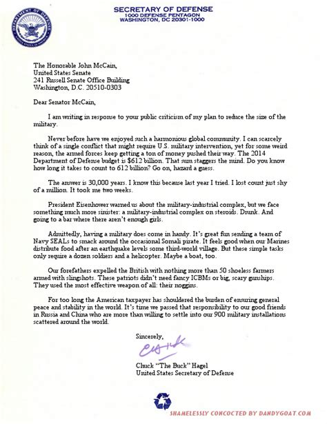 Appeal Letter Defence Letter From Defense Chuck Hagel To Senator Mccain The Dandy Goat
