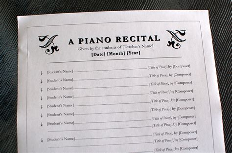 Printables Recital Program Template