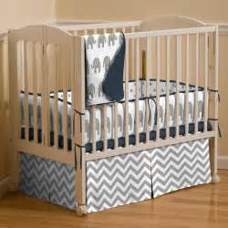 Mini Crib Baby Bedding Navy And Gray Elephants Mini Crib Bedding Carousel Designs