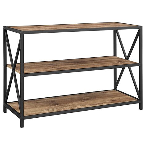 40 inch x frame metal and wood media bookshelf barnwood