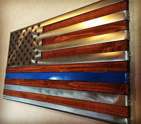 Patriotic Home Decor Ideas thin blue line 3 dimensional hand oiled pine wrapped in